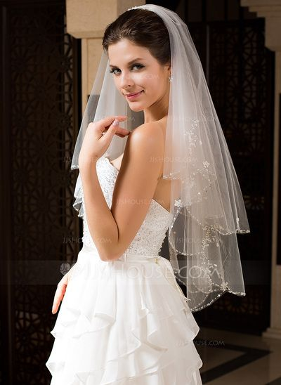 Wedding Veils - $24.99 - Two-tier Elbow Bridal Veils With Beaded Edge (006034328) http://jjshouse.com/Two-Tier-Elbow-Bridal-Veils-With-Beaded-Edge-006034328-g34328