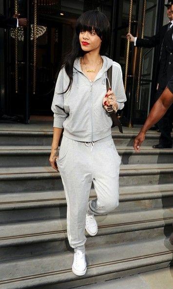 Rihanna Grey Adidas Tracksuit. Urban Fashion. Urban Outfit. Swag. Hip Hop Fashion. Hip Hop Outfit. Converse Outfit. Sporty Outfit. Rihanna Style
