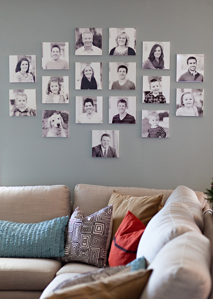 I love this family wall portrait setup!! instead of having one big picture, have a multiple of small ones and just add and replace when needed!! Love it!!!