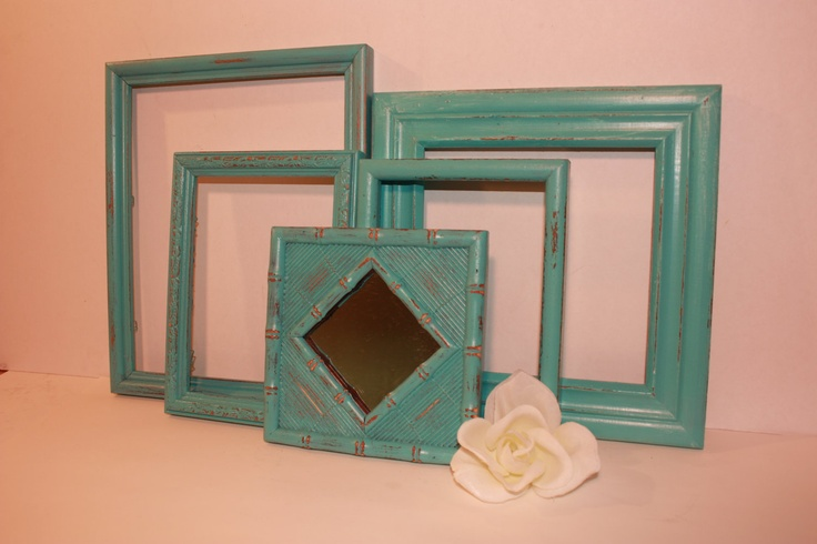 aqua teal turquoise | Aqua Seafoam Turquoise Teal Picture Frame Mirror Set Paris French ...