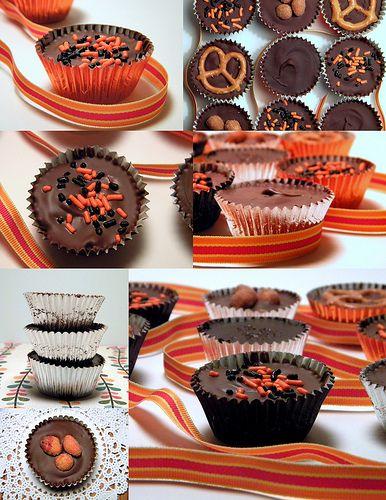 Homemade Peanut Butter and Dark Chocolate Caramel Cups