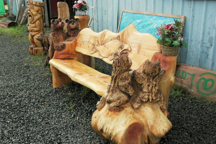 Best carving log benches images on pinterest carved