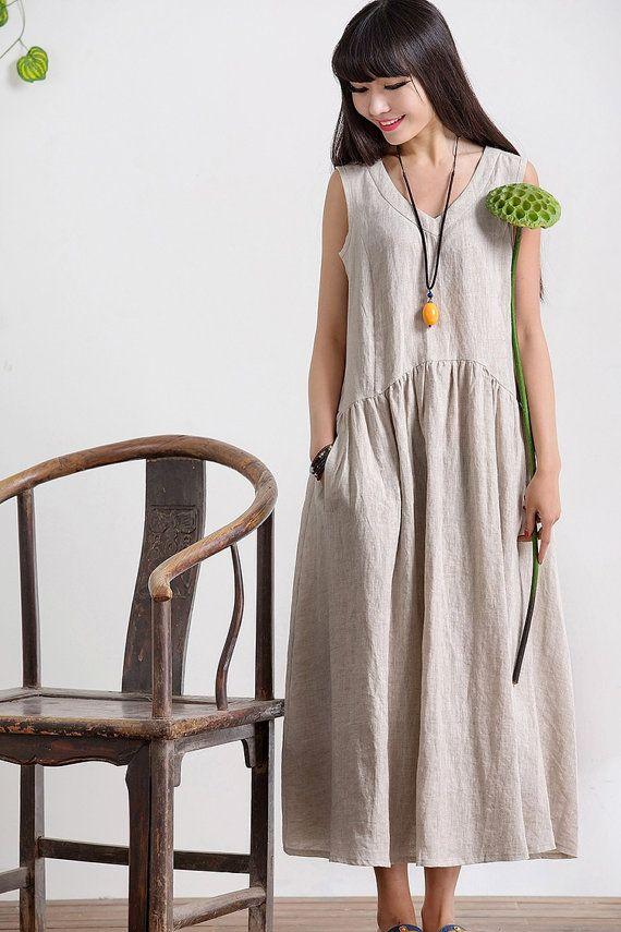 V Neck Maxi Dress Summer Dress in Rice White Linen by deboy2000