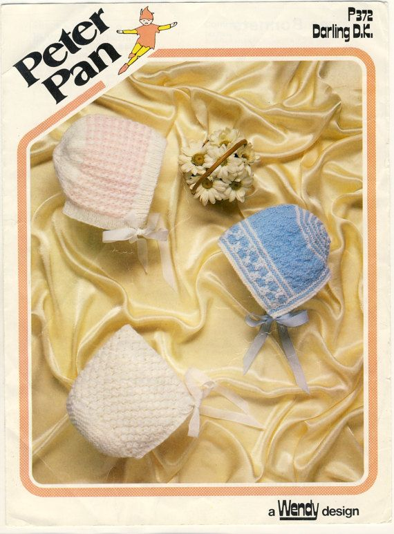 Peter Pan 372 Baby Bonnets Original Vintage Knitting Pattern, by PatternaliaVintage
