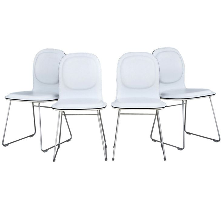 Four Cappellini Hi Pad Italian Leather Dining Chairs By Jasper Morrison Modern Room
