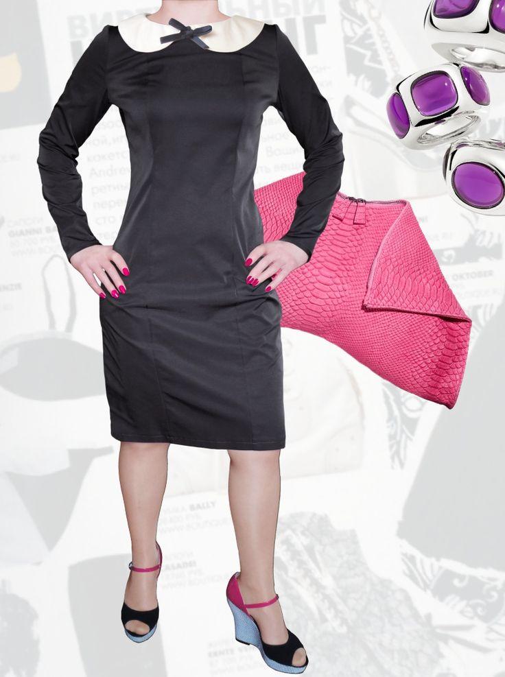 39$ Деловое платье прямого силуэта для полных девушек с атласным воротником и элегантным бантиком чёрное Артикул 822,р50-64