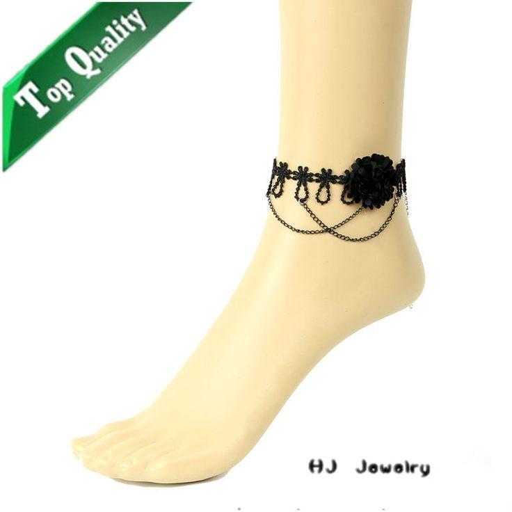 Ювелирные изделия на нога черный цветок кулон цепь ножной браслет ювелирные изделия китай ножные браслеты ювелирные изделия женские аксессуары на складе