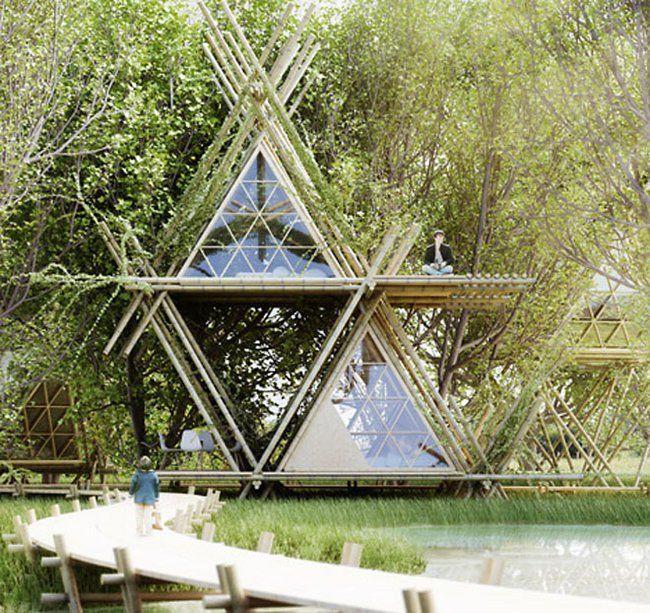 Modular bamboo tent hotel stacks up vertically (Video) : TreeHugger