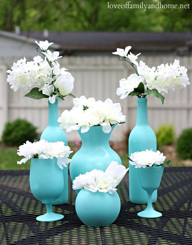 Easy, Spray Painted Glass Centerpieces.  Use spray paint on thrift store glass and use as centerpieces.