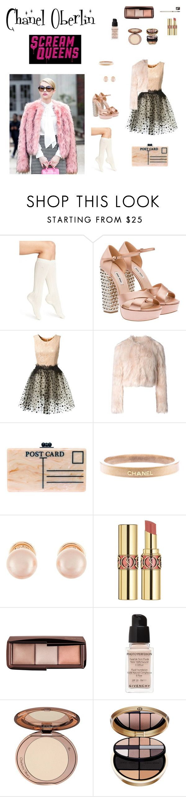 """Chanel Oberlin Scream Queens Inspired x"" by x-martilovesfashionx ❤ liked on Polyvore featuring mode, Calvin Klein, Miu Miu, Loyd/Ford, RED Valentino, Edie Parker, Chanel, Kenneth Jay Lane, Yves Saint Laurent et Hourglass Cosmetics"