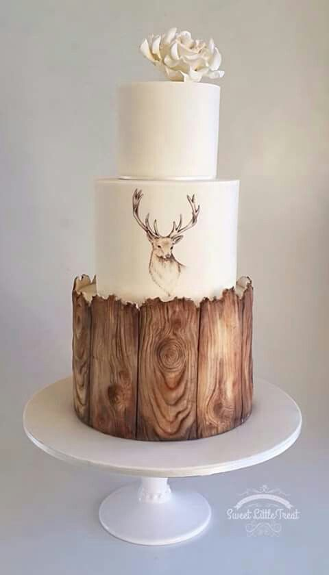 Tiered Rustic cake with deer. Remove flower for a more manly look.