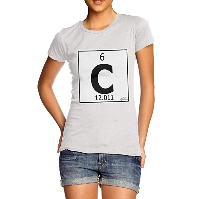 Twisted Envy Women's Periodic Table Element C Carbon White T-Shirt Large