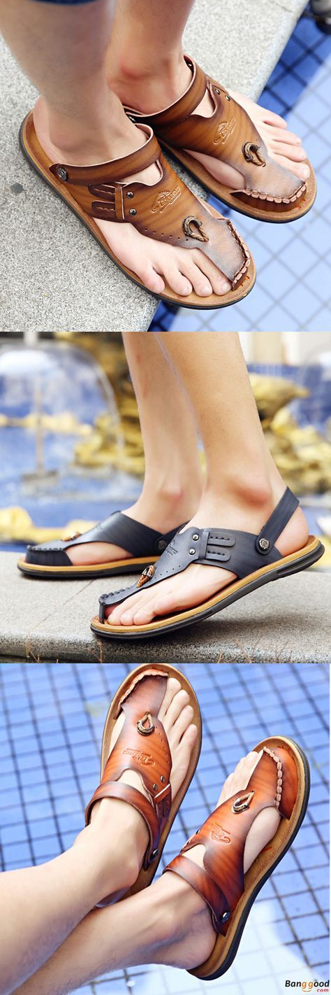 US$24.68 + Free shipping. Men Sandals, Leather Sandals,Casual Sandals, Cool Sandals, Beach Sandals, Summer Sandals, Slippers, Beach Shoes. Color: Brown, Khaki, Blue. Check this Out! 2017 Roman Style Leather Sandals.