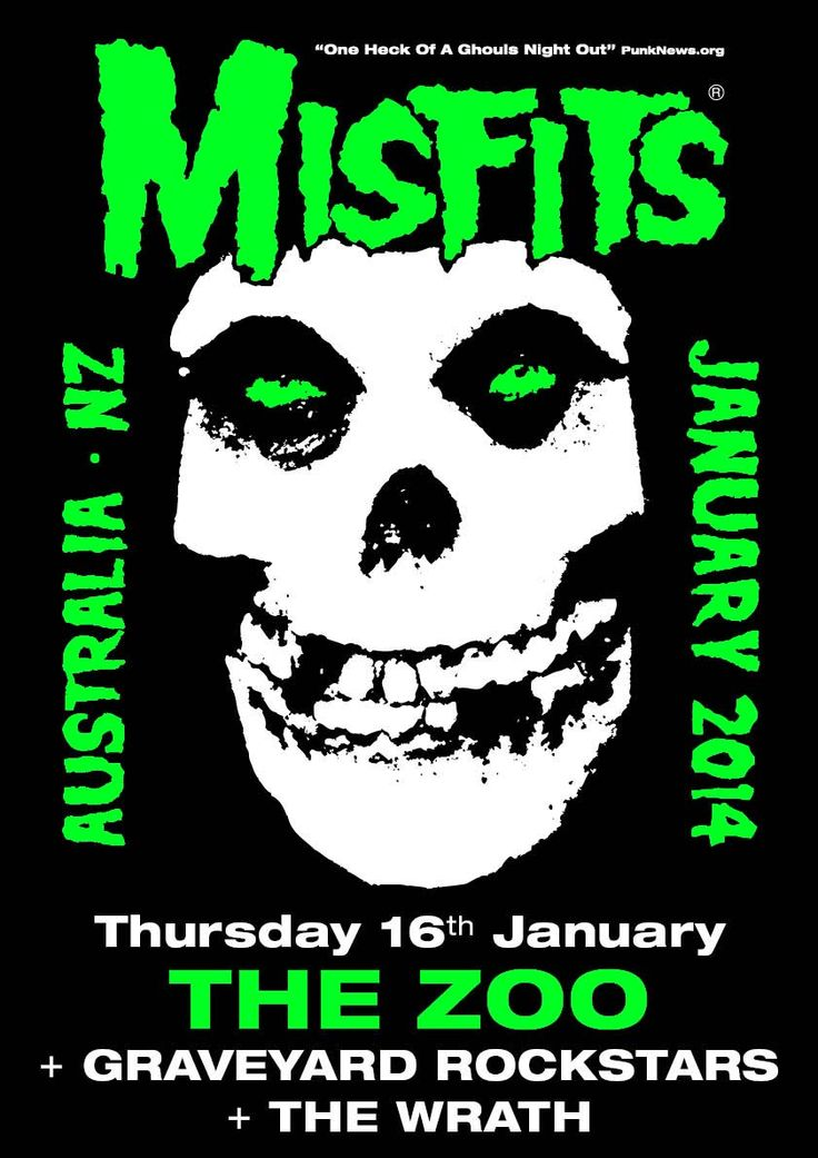 Misfits Australian Tour 2014 Poster - Brisbane show, Thursday 16th Jan 2014 @ The Zoo with Graveyard Rockstars and The Wrath.