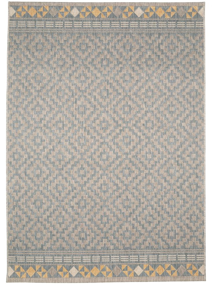 Der Outdoor Teppich Star Geometrisch aus der benuta-Kollektion wird von einem schönen Rautenmuster geziert - schlicht und zugleich vielseitig.