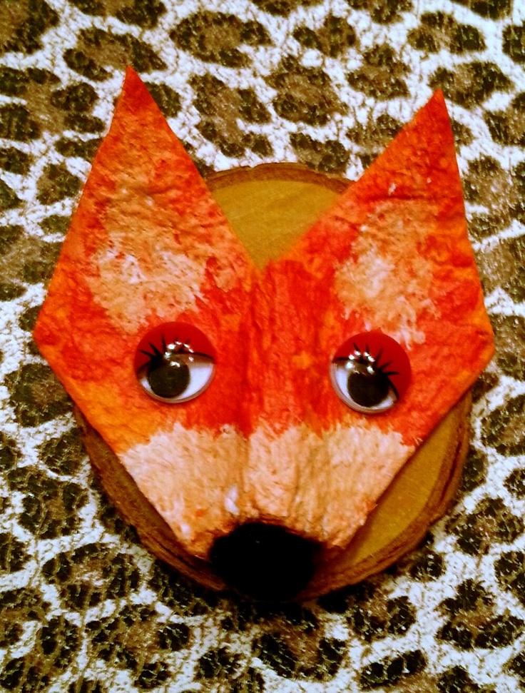 ~Een klein vos-schilderijtje gemaakt van een stukje eierdoos~