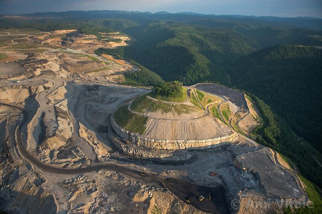 A bird's-eye view of the mountaintop-removal mine that ...