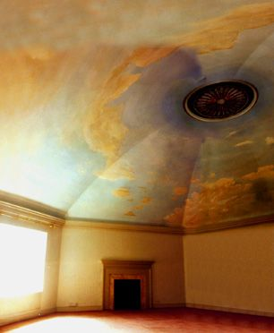 ceiling mural of a sunset sky on a large domed ceiling -painted by artist Jane Knapp. Inspiration for dining room ceiling