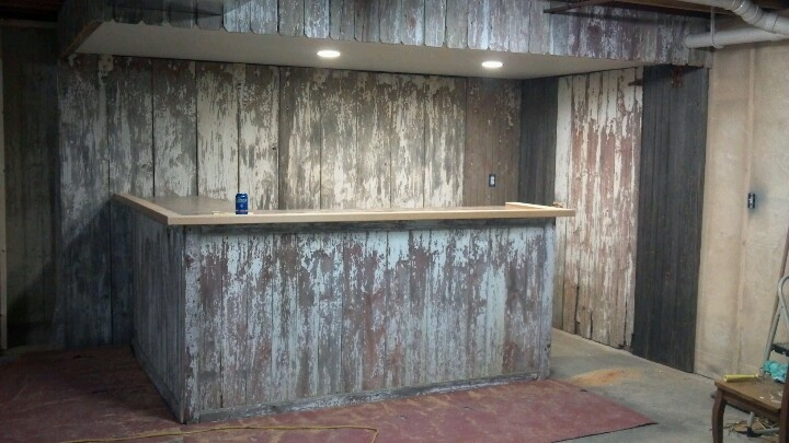 basement bar all barn wood from my uncle 39 s shed for