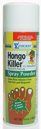 Hongo Killer Spray Powder - Absorbs more wetness & odor. Use also for Jock itch. Net weight 4.6 OZ , pack 1/24. UPC 0-00856-10950-6 Hongo Killer Spray Powder is clinically proven to cure most: • Athlete's foot (tinea pedis) • jock itch (tinea cruris) • ringworm (tinea corporis). Clinically proven to prevent most athlete's foot from recurring. Relieves the following accompany conditions: itching, cracking, burning, scaling, discomfort.