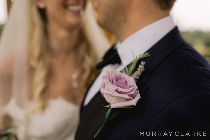 Grooms buttonhole for Russets House groom created by Eden Blooms Florist from Ocean Song Rose, Lavender & Rosemary Foliage.  Image by https://www.murrayclarke.co.uk/