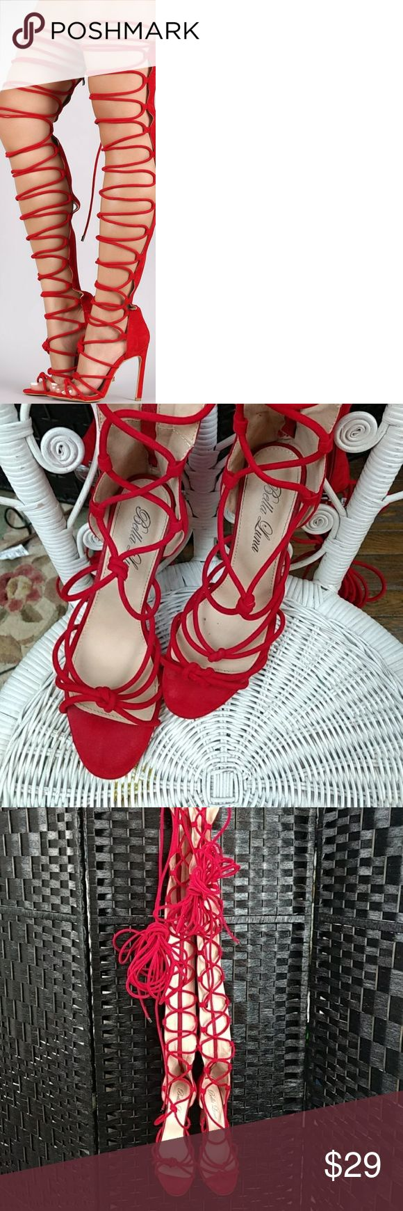 Bella Luna Lace Up Heels Excellent condition NSH, no marks at all on shoe. Bottom very very little wear. Just in time  for Valentine's Day!! Photo borrowed from CDN Shopify website. bella luna Shoes Over the Knee Boots