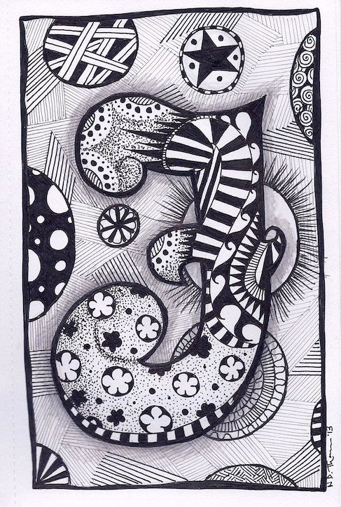 Zentangle+Letter+F+ZebrA+Letters+name+bunting+by+ForeverTangles,+£3.50