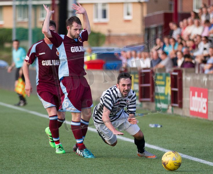 Queen's Park's Anton Brady is brought down during the Betfred Cup game between Stenhousemuir and Queen's Park.