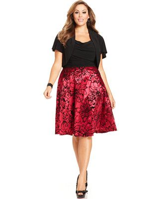 Le Bos Plus Size Dress And Jacket Sleeveless Fl Burnout Skirt