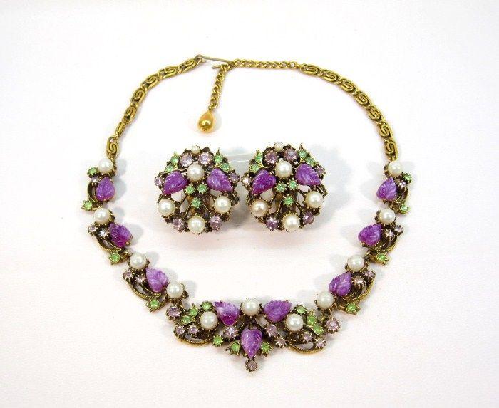 Florenza Unsigned Purple Leaf and Pearl Demi Parure
