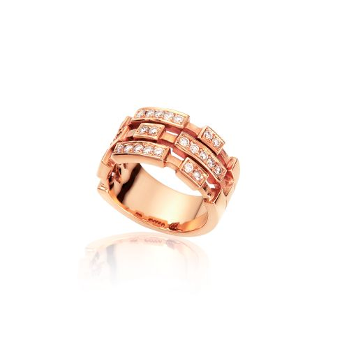 Cubic ring in 18ΚΤ pink gold with diamonds.