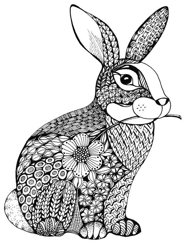 The Plushy Bunny In Tangle Design And The Floral Greeting Just Nice Bunny Design Floral Greeting Plushy Papierstickerei Malvorlagen Tiere Mandala Tiere