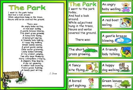 ks1 and ks2 literacy resource park poem showing adjective noun verb format writing pinterest. Black Bedroom Furniture Sets. Home Design Ideas