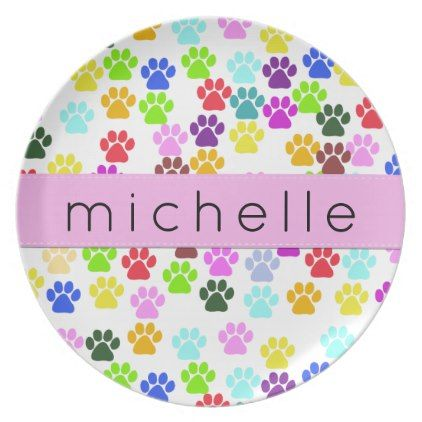 Your Name - Dog Paws Trails - Red Blue Green Plate - kitchen gifts diy ideas decor special unique individual customized