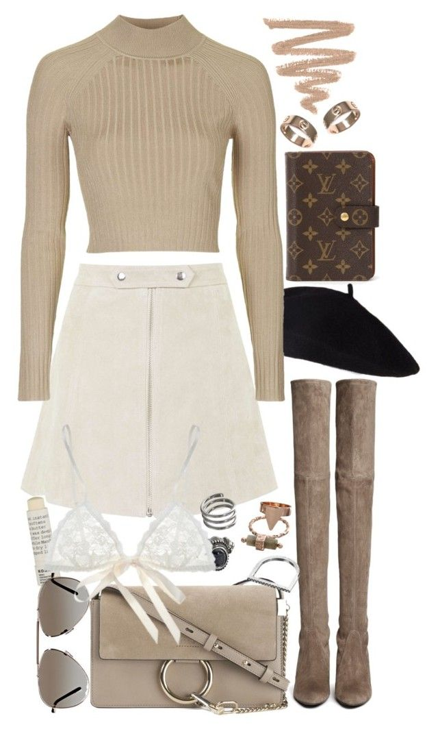 """""""Untitled #8046"""" by nikka-phillips ❤ liked on Polyvore featuring Louis Vuitton, Topshop, Stuart Weitzman, Chloé, Korres, Tom Ford, Mudd, Hanky Panky and Cartier"""