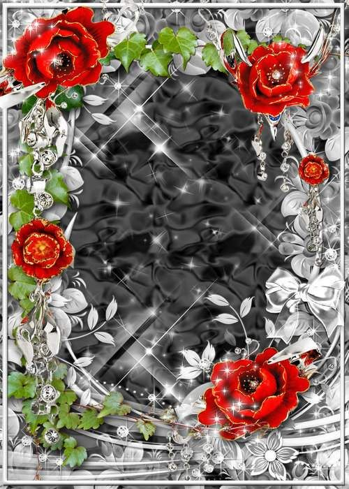 Frame for photo psd - Roses tenderness in double wreath has plaited ( free photo frame psd, free download )