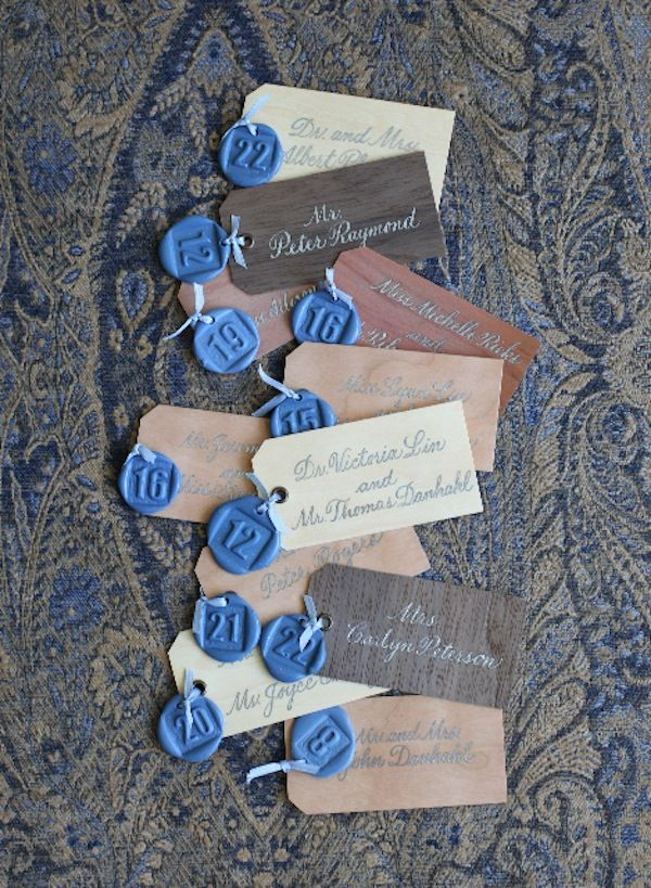 These #blue #wax #seal numbers make the perfect addition to these calligraphed seating cards! Photo on Mindy Weiss