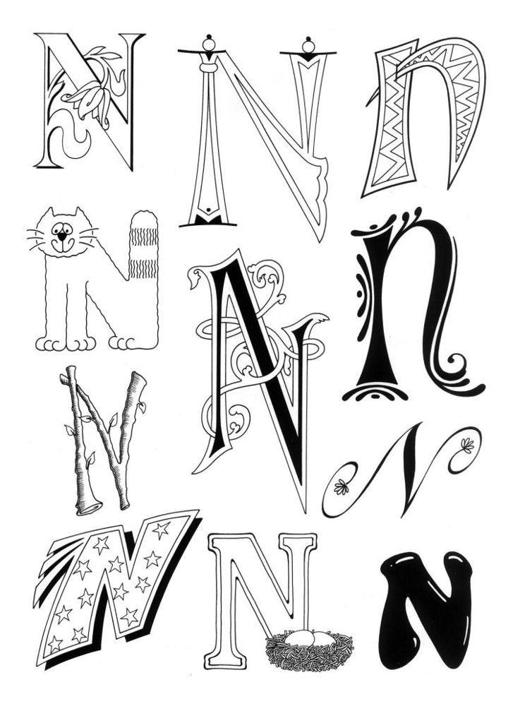 Dibujo para imprimir : Figuras y formas - Alfabeto - Letra n numéro 354063