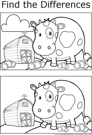 Hone your observation skills by finding the differences between the two pictures of a cow on a farm in this printable coloring page.