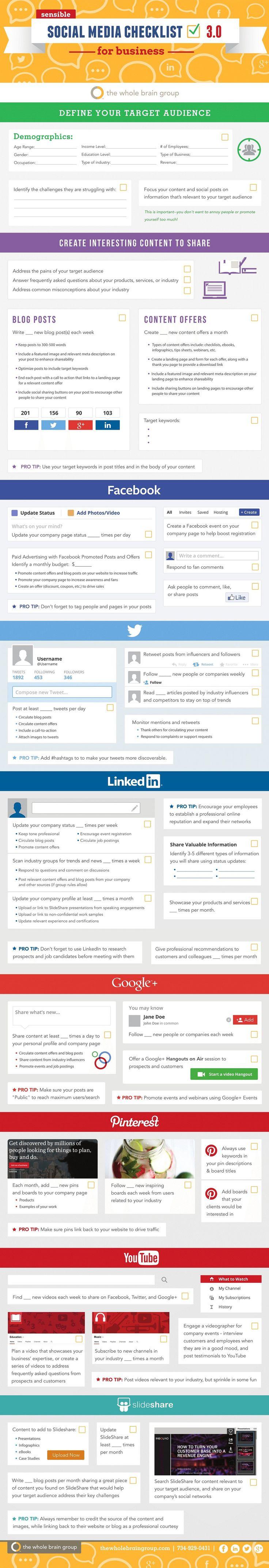 Sensible #SocialMediaMarketing Checklist for Business - #infographic Twitter, Facebook, GooglePlus, Pinterest, #LinkedIn, #YouTube, SlideShare, Blogging