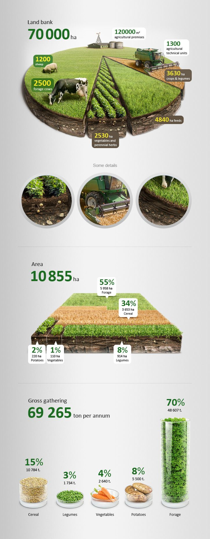 The project was done for a web site of an agricultural holding company – Agroreserv. I decided to present a complicated data about client's assets