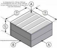 Lage loungetafel van steigerhout op bouwtekening.