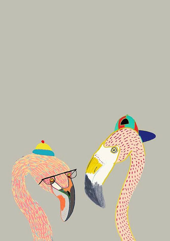 The Flamingos. Illustration Print by Ashley Percival. Illustration, owl poster, print.