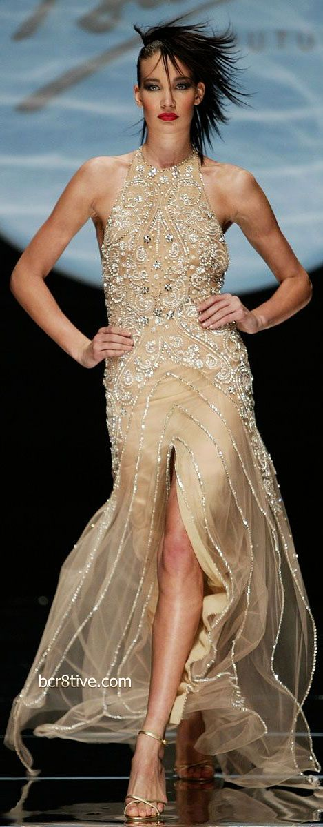 Older Favorites from Fausto Sarli Couture - 2006 Spring Summer - Nude Beaded Evening Gown