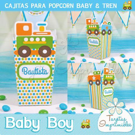 Cajitas para baby shower baby boy y trencito, en colores verde, naranja y turquesa. Imprimibles con textos editables. Cajita de popcorn, cajitas milk box y cajitas cubo. #babyshower #babyboy #baby #tren #train #cajitas #imprimibles #bautismo #cumpleaños #partyideas #imprimiblesdefiesta