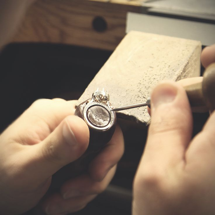 our diamond setter working hard. setting diamonds to perfection. Fairfax & Roberts Sydney - Engagement rings