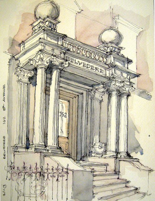 Architecture doorway artist drawing - watercolour illustration #art