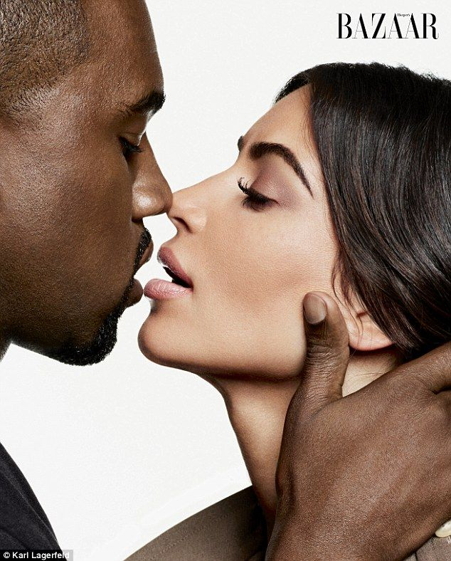 Sensual: Kanye West and Kim Kardashian share the cover - and a sensual photoshoot - in Har...