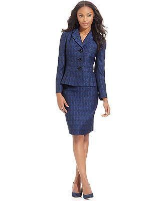 Le Suit Petite Suit, Pleated-Hem Tweed Blazer & Skirt - Petite Suits & Separates - Women - Macy's MOB Navy and yellow wedding $59.19