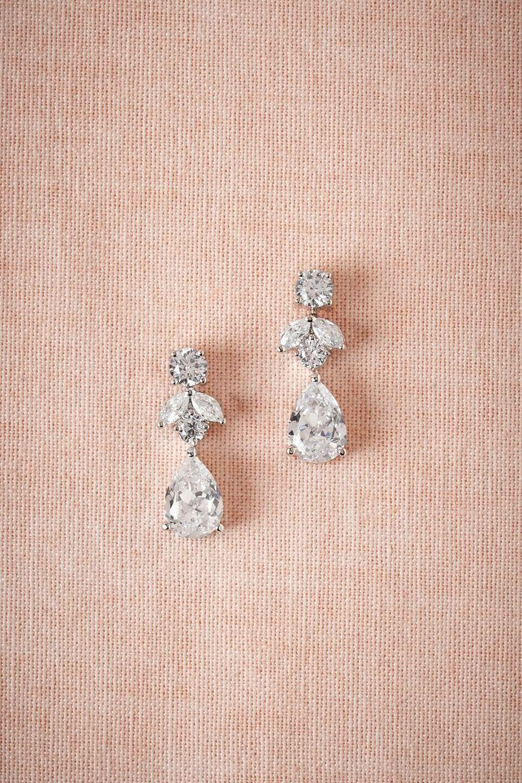 BHLDN Petite Crystal Drop Earrings in  Bride Bridal Jewelry at BHLDN